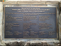 SP3165 : Plaque recording the opening of the Linden Arches, Leamington by Robin Stott