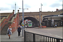 SJ8990 : Chestergate exit, Stockport bus station by Robin Stott