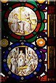 TL8660 : St Peter, Nowton - Stained glass window by John Salmon