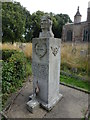 TL1885 : Memorial to USAAF 457th Bomb Group (H) in Conington churchyard by Richard Humphrey