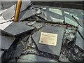 TQ3780 : Plaque, Javelin Monument, Canary Wharf, London by Christine Matthews
