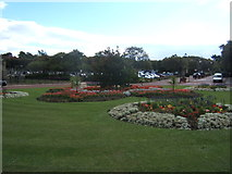 NZ2065 : Flowerbeds and car park, West Road Crematorium by Barbara Carr