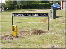TG2902 : Framingham Earl Road sign by Adrian Cable
