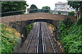 TQ6573 : Footbridge over railway line, Gravesend by David Martin