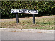 TG2902 : Church Meadow sign by Adrian Cable