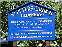 TM3193 : St.Peter's Church sign by Adrian Cable