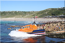SW3526 : Demonstration launching of Sennen Cove lifeboat by Rod Allday