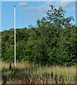 SP3899 : Flag pole at White Moors car park by Mat Fascione