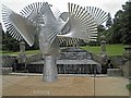 SK2670 : Art installation at the base of the Cascade Chatsworth by Steve  Fareham