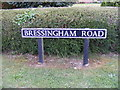 TM0881 : Bressingham Road sign by Adrian Cable