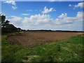 NU2420 : Freshly cultivated arable field north of Dunstan by Graham Robson