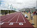 TQ3784 : Temporary running track, Olympic Park by Paul Gillett