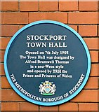 SJ8989 : Stockport Town Hall blue plaque by Gerald England