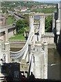 SH7877 : Conwy Suspension Bridge from the castle by Rob Farrow