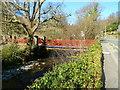 SH5848 : River footbridge to a primary school, Beddgelert by Jaggery
