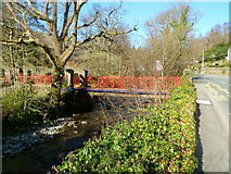 SH5848 : River footbridge to a primary school, Beddgelert by Jaggery