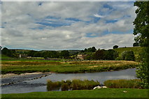 SE0063 : River Wharfe, stepping stones to Linton Church by Peter Barr