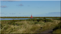 TG0345 : Red sail on Cley Channel by Jonathan Billinger