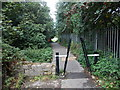 SO2007 : Barrier across a path near Duffryn Park, Blaina by Jaggery