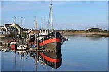 NS3138 : Moorings, Irvine Harbourside by Leslie Barrie