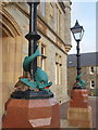 HU4741 : Lerwick: dolphin lampposts at the Town Hall by Chris Downer