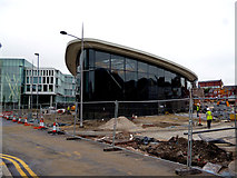 SD8913 : Rochdale:  New bus station under construction by Dr Neil Clifton