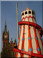TQ3082 : Helter skelter and St Pancras clock tower by Stephen McKay