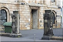 NS2776 : Gate Posts at St Thomas' Church (Former), Grey Place, Greenock by Terry Robinson