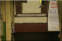 TQ3084 : Caledonian Road underground station: platform-level signage by Christopher Hilton