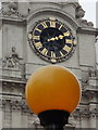 TQ3181 : City of London: a Belisha beacon and cathedral clock by Chris Downer