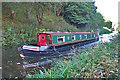 NT0576 : Narrowboat between the Bings by Anne Burgess