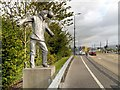 SJ9299 : Lord Sheldon Way, Footballer Sculpture by David Dixon
