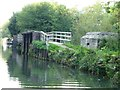 SU4366 : Pillbox and towpath bridge over weir by Christine Johnstone
