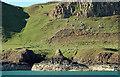NG2405 : Basalt formations, Tarbert Bay, Canna by Donald MacDonald