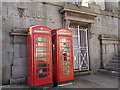 SW4730 : Penzance: phone boxes in Market Jew Street by Chris Downer