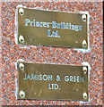 J3474 : Brass plates, Belfast by Albert Bridge