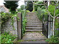 ST5789 : Steps up to the churchyard, Aust by Jaggery