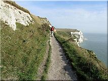 TR3442 : Saxon Shore Way high above Langdon Bay by Chris Heaton