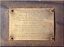 TA1280 : 'A High Tide in Short Wellies' Plaque on the Fisherman's Statue, Promenade, Filey by Terry Robinson