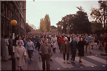 SP5206 : Oxford May Morning 1958, crowds leave Magdalen  by David Hawgood