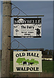 TM3674 : Signs at the entrance to Old Hall by Adrian Cable