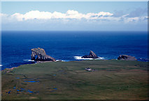 HT9541 : Ristie and the Foula stacks from the side of Soberlie by Julian Paren