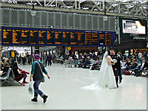 NS5865 : Bride & groom in Glasgow Central railway station by Thomas Nugent