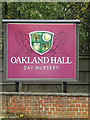 TM1243 : Oakland Hall Day Nursery sign by Adrian Cable