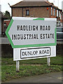 TM1444 : Hadleigh Road Industrial Estate & Dunlop Road signs by Adrian Cable