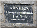 SJ0278 : Date stone on the Goshen/Gosen Chapel by John S Turner