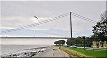 TA0225 : Hessle Foreshore and Humber Bridge, North Tower by Chris Morgan
