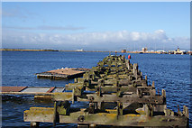 NT2677 : Wooden jetty projecting into Western Harbour, Leith by Bill Boaden