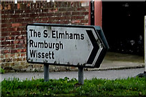 TM3877 : Roadsign on the A144 Norwich Road by Adrian Cable