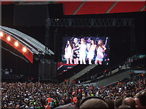 TQ1985 : Girls Aloud on the big screen, Wembley Stadium by Richard Humphrey